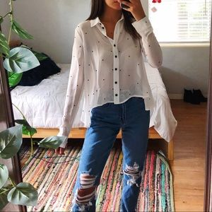 UO cooperative sheer button up blouse
